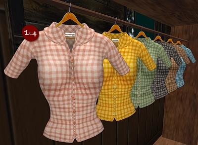 New! L$1 Checked Shirt: Humming!